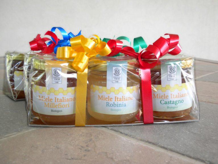 Tris mieli. Una confezione regalo a base di miele biologico.
