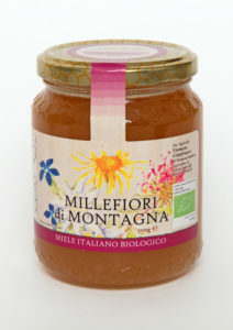 Miele di millefiori di montagna biologico: Si distingue dal Millefiori di Bosco per il diverso colore dell'etichetta. Miele biologico a Roma.